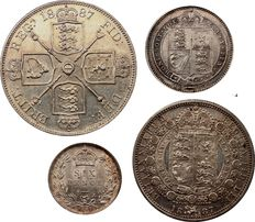 United kingdom - 6 Pence, Shilling, ½ Crown and Double Florin 1887 Victoria (4 coins) - silver