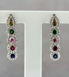 Earrings in 18kt white gold set with multi-gem stones and diamonds