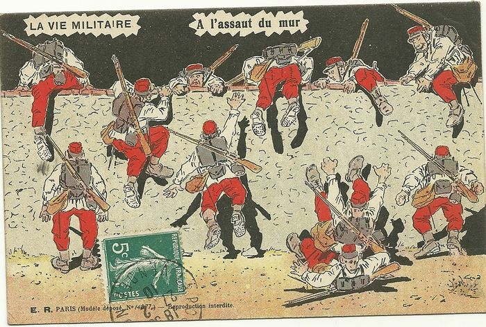 Superb collection of 118 x old postcards of military humor - life