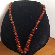 Antique genuine amber necklace with gold clasp