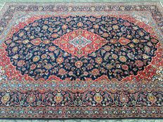 Magnificent Persian BLUE KASHAN - approx. 361 x 261 cm - oriental carpet - condition: VERY GOOD!