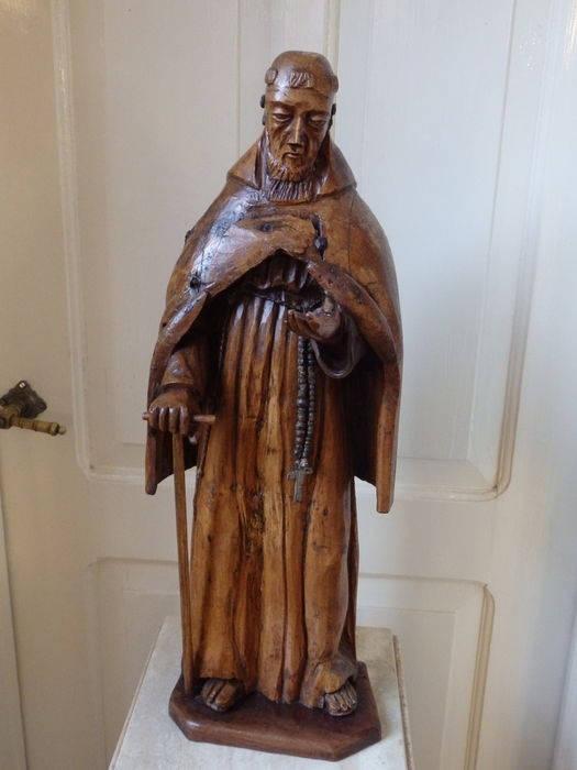 "Beautiful large statue of Saints ' Francis of Assisi ""in oak wood -Germany- begin 18th century"