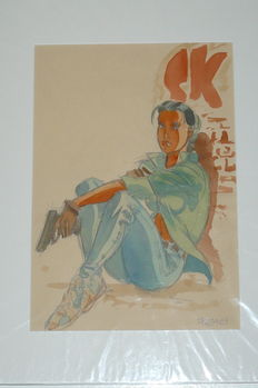 "Meynet , Felix - original colour drawing - ""Les eternels"""