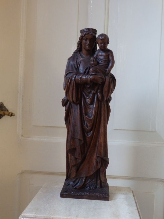 Beautiful statue of Mary with child-MECHELEN-19th century