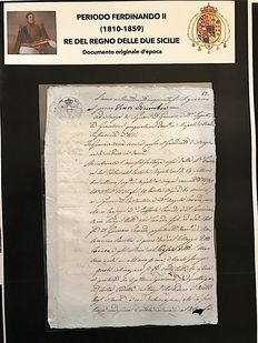 Kingdom of the two Sicilies - Notarial document, period of King Ferdinand II - 1810/1859
