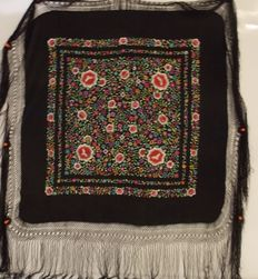 Black Hand Embroidered Silk shawl, early 20th century