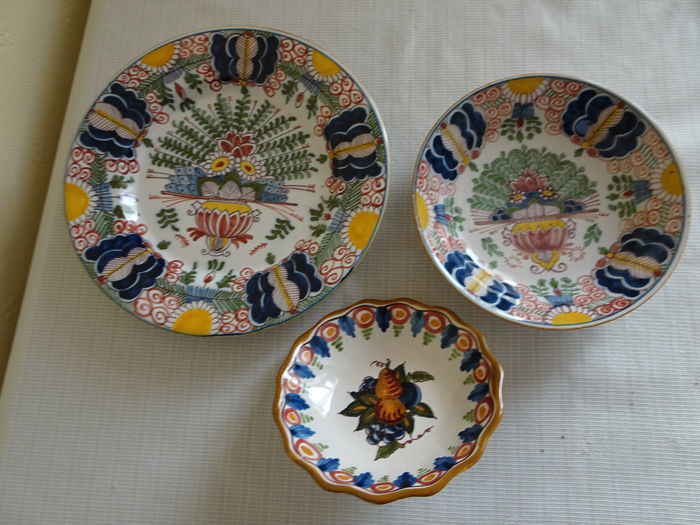 Tichelaar 3 X Decorative Wall Plates Dishes With Floral And Fruit