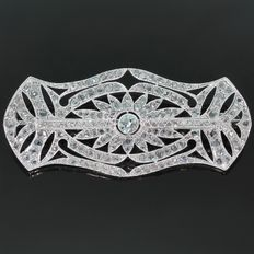 Belle Epoque/Art Deco platinum and gold diamond brooch, ca. 1915