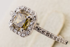 IGI Certified Natural Fancy Deep Brownish Green-Yellow 0.80 ct Diamond Engagement Ring  , I2 *** No Reserve ***