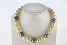 Exclusive Multi Color South Sea and Tahitian Pearl Strand with 18K Gold Clasp and Ordinex Certificate