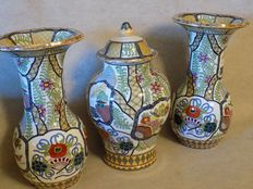 Petrus Regout - earthenware mantelpiece set with Chinese decorations