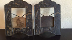 A pair of Japonistic partly plated bronze photo frames - presumably France - circa 1880