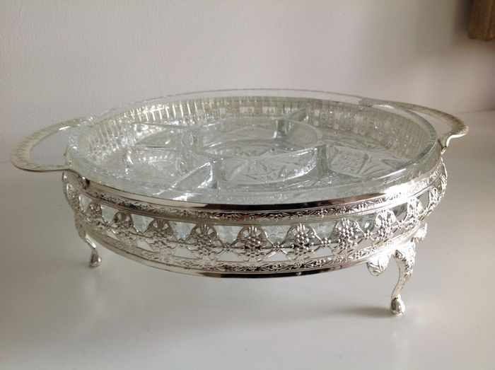 Beautiful glass presenting dish with compartments in silver plated holder on feet