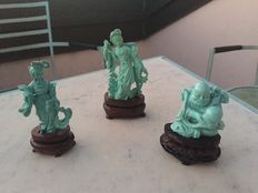Three small antique stone statues - China - First half of the 20th century.