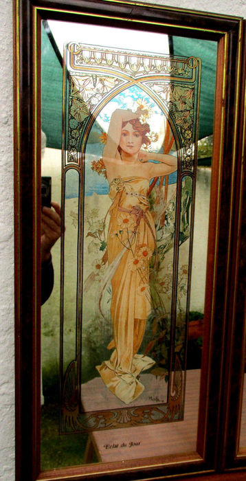 Rare alphonse mucha mirror painted work times of the day for Door 7 days to die