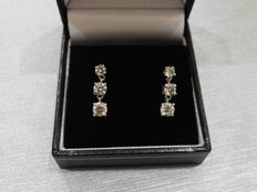 18k Gold Trilogy Drop Diamond Earrings - 1.20ct  I, SI2
