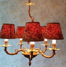 An elegant French copper chandelier with five arms, France, second half of 20th century