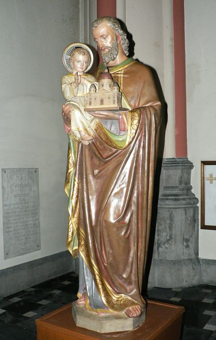 Huge Saints image, 140 cm, Saint Joseph with child Jesus-terra cotta-LEUVEN (Belgium)-18/19th century.