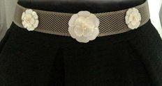 Chanel - Mesh Camelia Mother of Pearls belt