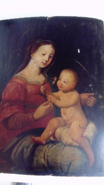 Virgin and child with a carnation - 17 th - oil on wood.