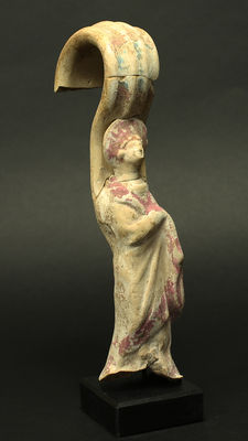 Greek terracotta woman with headdress in the shape of a red hood - Canosa - 23 cm