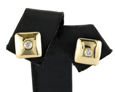 Square design yellow gold earrings with inlays of brilliant cut diamonds weighing 0.10 ct