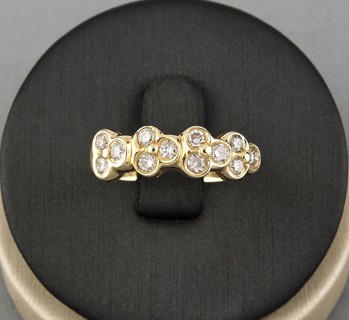 750/1,000 (18 kt) yellow gold - Cocktail ring - 0.60 ct brilliant-cut diamond - Size 16 (Spain)