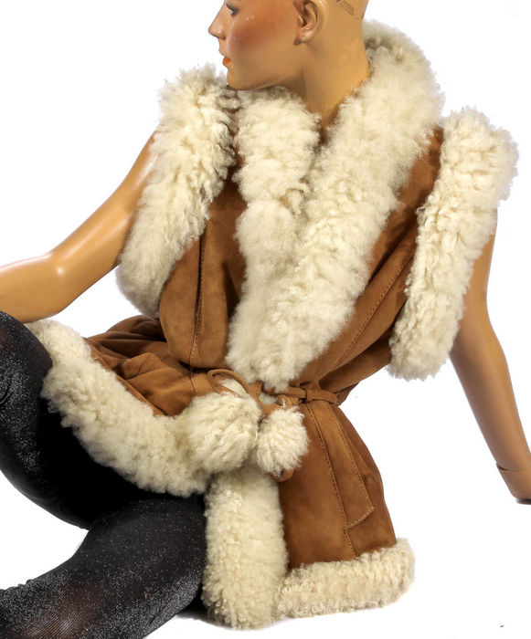 Trendy Boho lamb fur, fur vest, lamb fur suede vest fur Shearling leather