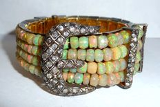 Wide bracelet in 925 silver with approx. 130 ct Ethiopian Welo opals and 2.5 ct Diamonds