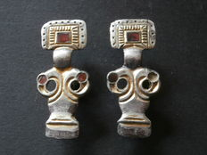 Couple (2 x) of early medieval Ostrogothic silver-plated bow fibulae - 45 mm (2)