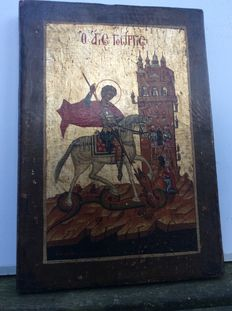 Very beautiful icon from one of the Baltic States, Saint George that the dragon-around 1900 or earlier-