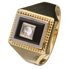 14 kt yellow gold men's ring set with goshenite and onyx - size 20.5 mm