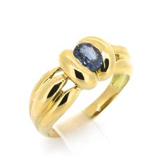Ring in 18 kt yellow gold with 2 ct sapphire - size: 59/18.79 mm