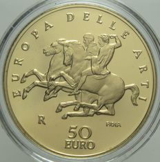 "Republic of Italy – 50 Euro, 2006 ""Europa delle Arti – Grecia""/""Europe of Arts – Greece"" – Gold"