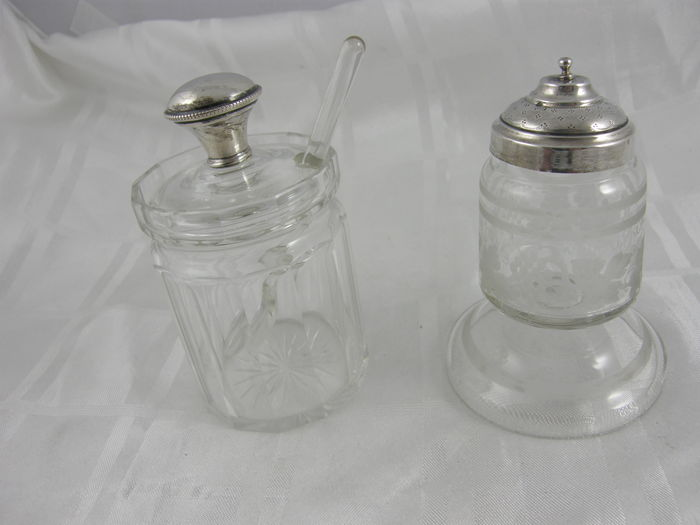 Two crystal cover jars with silver lid, Netherlands late 19th century + 2 open worked holders as flower pot, Netherlands 1926