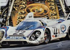 "Porsche 917 K, Le Mans 1971 - original lithography of Hessel BES - ""the fast emotions"""
