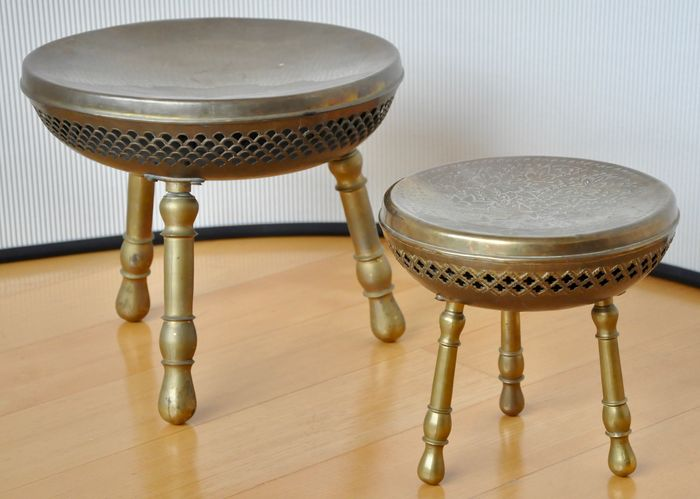 Excellent Lot Of Two Authentic Syrian Copper Stools Catawiki Lamtechconsult Wood Chair Design Ideas Lamtechconsultcom