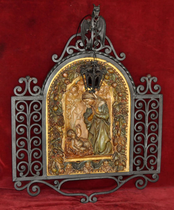 Masterful religious panel made in polychrome stucco over a wrought iron frame in Gaudí style