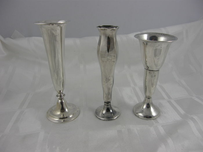 Set of 3 silver vases, including art deco, Netherlands and Wilkens Germany