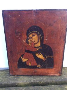 Gorgeous Russian icon with Mother Mary and child Jesus-between 1850 and 1875.