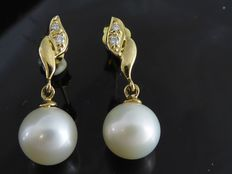 9K gold fresh water pearl  earrings with 4 brilliant cut diamonds 0.04 ct ***No minimum price***
