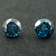 Lot of 2 Fancy Blue Diamonds - 0.30 ct