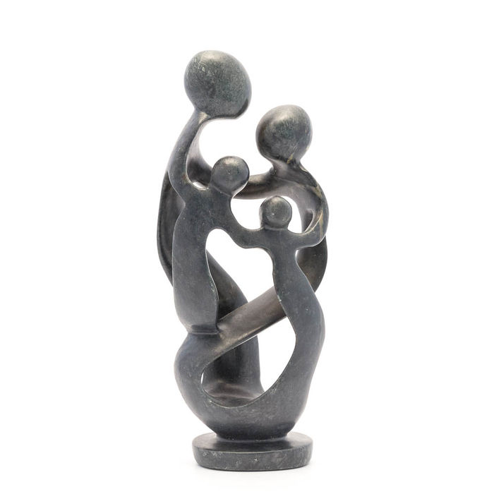 Beautiful African family statue of natural stone