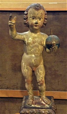 Image of Child Jesus of the Ball in polychrome carved wood  - Spain - 17th century