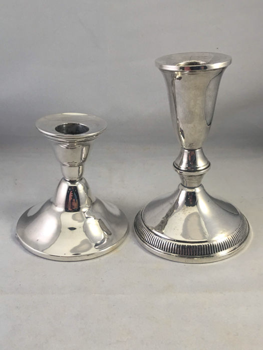 Two silver candle stands, United States and Netherlands, 20th century.