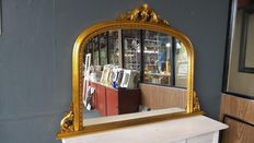 Overmantle mirror with openwork ornament - hand gilded - gold, 21st century