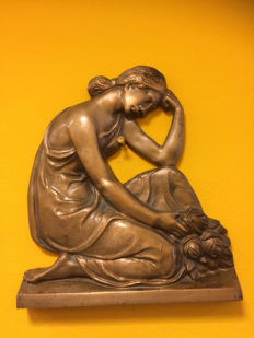 Bronze relief of a grieving Lady, late 20th century