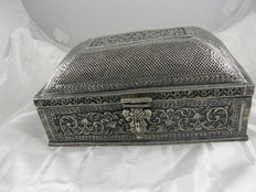 Silver colonial trunk with partlajour lid and beautiful patterns, English colonial,  NW India, ca. 1860