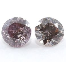Pair Deep Purplish Pink Diamonds – 0.04 x 2 = 0.08 ct
