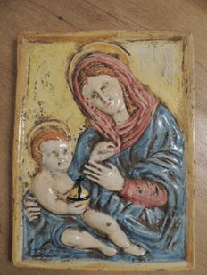 Ancient Majolica plaque with depiction of a Madonna, Perugia (Italy)